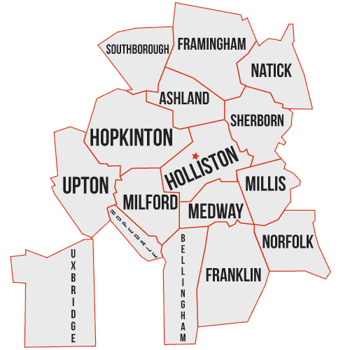 Holliston Sewer Septice Service Area Map